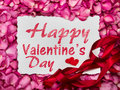 Happy Valentines Day Paper Frame With  Sweet Pink Roses  Petal Stock Photo - 89626670
