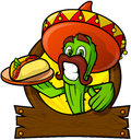 Sympathetic Cactus With A Mexican Taco Stock Photo - 89628590