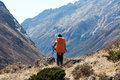 Silhouette Of Human With Backpack Overlooking Mountain Valley Royalty Free Stock Photos - 89629458