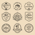 Vector Set Of Vintage Bakery Logos. Retro Emblems Collection With Sweet Biscuit, Cupcake Etc. Hipster Pastry Icons. Royalty Free Stock Photo - 89630995
