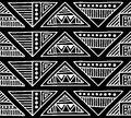 Seamless Vector Pattern. Black And White Geometrical Background With Hand Drawn Decorative Tribal Elements. Print With Ethnic, Fol Stock Images - 89636854