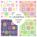 Set Of Seamless Vector Geometrical Patterns With Squares . Pastel Endless Background With Hand Drawn Textured Geometric Figures. G Stock Photo - 89637430