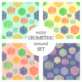 Set Of Seamless Vector Geometrical Patterns With Rectangles. Pastel Endless Background With Hand Drawn Textured Geometric Figures. Royalty Free Stock Photos - 89637448