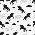 Unicorn Wallpaper. Seamless Pattern In Swatch. Vector Illustration. Born To Be A Unicorn. Jumping Unicorns And Clouds. Grunge Vint Royalty Free Stock Photography - 89637507