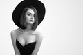 Monochrome Beauty Shots Of An Elegant Woman In A Hat Stock Images - 89638134