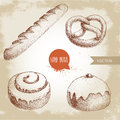 Hand Drawn Sketch Style Bakery Goods Illustrations Set. Fresh Salted Pretzel, French Baguette, Iced Cinnamon Bun And Iced Bun  Stock Image - 89640791