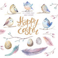 Hand Drawing Easter Watercolor Flying Cartoon Bird With Leaves, Stock Photos - 89647283