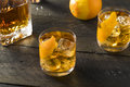 Boozy Homemade Old Fashioned Bourbon On The Rocks Royalty Free Stock Image - 89655666
