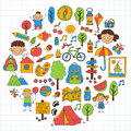 Summer Camp Children, Kids Camping Children Plays, Hiking, Singing, Fishing, Walking, Drawing, Having Fun After School Stock Images - 89683854
