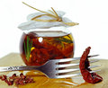 Sun Dried Tomatoes In Jar Royalty Free Stock Images - 8972819