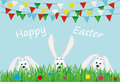 Three Easter Bunnies Are Sitting In The Grass With Flowers.  Flags Royalty Free Stock Photos - 89712788