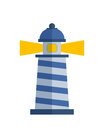 Cartoon Flat Lighthouse Searchlight Tower For Maritime Navigation Guidance Light Vector Illustration. Stock Photo - 89713170
