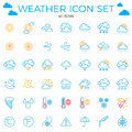 Weather Icon Set. Line Icons.42 Items. Clouds, Sun, Rain, Umbrel Stock Photography - 89721242