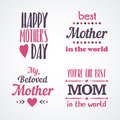 Happy Mothers Day Lettering Calligraphic Emblems And Badges Set. Vector Design Elements For Greeting Card And Other Print Template Royalty Free Stock Photos - 89734148