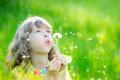 Happy Child Blowing Dandelion Flower Outdoors Royalty Free Stock Image - 89771676