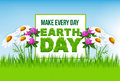 Earth Day Poster With Green Grass And Flowers Stock Image - 89789101