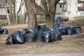 Stack Of Garbage Bags For Take Out.  Clean Up The City Park In The Spring And Autumn Stock Image - 89790171