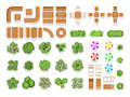 Top View Landscaping Architecture City Park Plan Vector Symbols, Wooden Benches And Trees Stock Images - 89791344