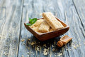 Honey Bars In A Wooden Bowl With Sesame Seeds. Royalty Free Stock Images - 89794319