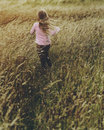 Little Girl Grassland Nature Outdoors Concept Royalty Free Stock Image - 89801876
