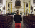Woman Standing Church Religion Concept Stock Image - 89802221