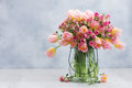 Pink And Yellow Tulips And Roses Royalty Free Stock Image - 89811056
