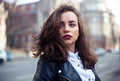 Amazing Joyful Pretty Girl With Long Brunette Hair. Posing Outdoor. Leather Jacket,brunette Hair, Bright Red Lips Close Up Fashion Royalty Free Stock Photography - 89813717