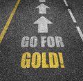 Go For Gold Road Markings Royalty Free Stock Images - 89813849