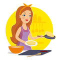 Woman Cooking In The Kitchen. Housewife In The Kitchen. Mother Cooking. I Love To Cook. Vector Illustration Stock Photography - 89814832