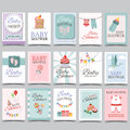 Baby Shower Card Set For Boy For Girl Happy Birthday Party Its A Boy Its A Girl Celebration Greeting Or Invitation Card Poster Royalty Free Stock Photo - 89817375