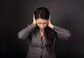 Stressed Unhappy Business Woman In Grey Suit Closed Ears The Han Stock Image - 89837871