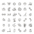 Outline Web Icon Set - Summer, Vacation, Beach Royalty Free Stock Images - 89840389