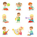Little Kids Sitting And Playing Musical Instrument, Set For Label Design . Cartoon Detailed Colorful Illustrations Stock Photo - 89840600
