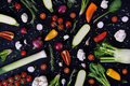 Colorful Vegetables And Spices On Black Background. Produce Display. Organic Healthy Vegetarian Foods. Farmers Market Layout. Top Royalty Free Stock Image - 89852146