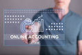 Man Touching An Online Accounting Concept On A Touch Screen Stock Photo - 89858530