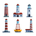 Cartoon Flat Lighthouse Searchlight Tower For Maritime Navigation Guidance Light Vector Illustration. Stock Image - 89859441