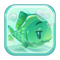 Cartoon Green Fish Behind The Glass. Royalty Free Stock Photo - 89878245