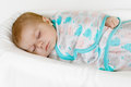 Cute Little Newborn Baby Girl Sleeping Wrapped In Blanket Royalty Free Stock Images - 89879309