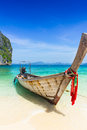 Thailand Summer Travel Sea, Thai Old Wood Boat At Sea Beach Krabi Phi Phi Island Phuket Stock Image - 89883291