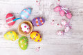 Colorful Easter Eggs On Wooden Table Royalty Free Stock Image - 89887806