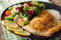 Fried Fish Fillet Arctic Char And Fresh Vegetable Salad Close-up Stock Photo - 89889600