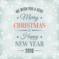 Merry Christmas And Happy New Year 2018 Card. Royalty Free Stock Photography - 89894577