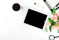 Workspace With Tablet, Office Accessories, Coffee And Bouquet Of Stock Image - 89899841