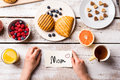 Mothers Day Composition. Little Note And Breakfast Meal. Royalty Free Stock Photo - 89901645