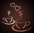 Two Hand Drawn Coffee Cups With Heart Shapes Royalty Free Stock Images - 89926419