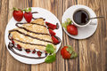 Crepes With Banana And Strawberries Royalty Free Stock Image - 89930216
