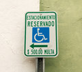 Parking Reserved For Handicapped Only In Spanish Royalty Free Stock Images - 89932619