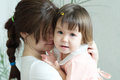 Mother Hugging Child, Physical Contact, Family Relationships, Cuddling Baby For Physical Affection, Communicate Happy Daughter Stock Photography - 89937482