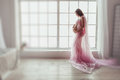 Young Pregnant Woman In Pink Fabric Is Standing By The Window. Unrecognizable Pregnant Woman Studio Shot Royalty Free Stock Image - 89946196