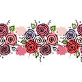 Seamless Vector Hand Drawn Floral Pattern, Endless Border Colorful Frame With Flowers, Leaves. Decorative Cute Graphic Line Drawin Royalty Free Stock Images - 89948909